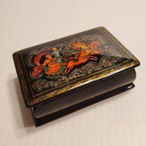 Lacquered Paper Mache Russian Palekh Trinket box